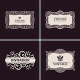 Label vector frames elegant border set. Vintage banner design