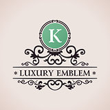 Luxury logo. Calligraphic pattern elegant decor elements. Vintage vector ornament