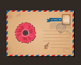 Vintage postcard and postage stamps. Design flower envelope pattern letters