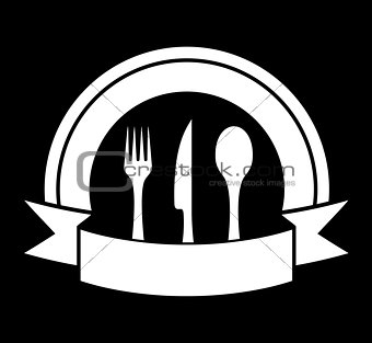 black food icon for restaurant