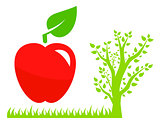 garden symbol with tree and red apple