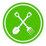 garden tools round green icon