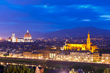 Famous view of Florence at twilight, Italy