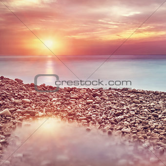 Beautiful beach landscape on sunset