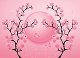 Cherry blossom motif template vector. Illustration