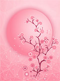 Cherry blossom motif. Nature template vector.