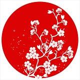 modern japanese cherry blossom template vector.