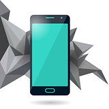 Mobile phone with polygonal background