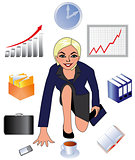 The business lady, the woman at work, the employee of office