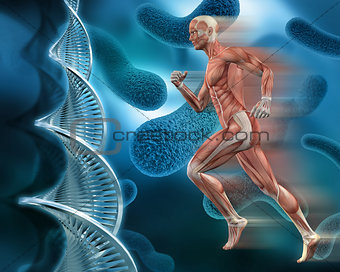 3d male medical figure on abstract DNA virus background