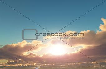 3D sunset sky