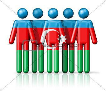 Flag of Azerbaijan on stick figure