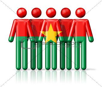 Flag of Burkina Faso on stick figure