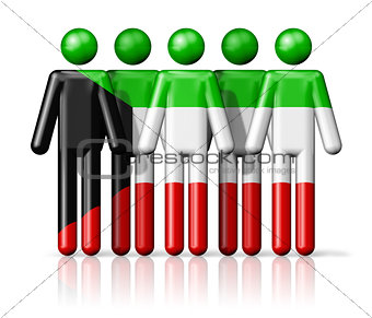 Flag of Kuwait on stick figure