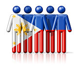 Flag of Philippines on stick figure