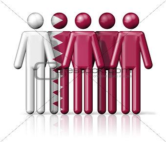 Flag of Qatar on stick figure