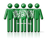 Flag of Saudi Arabia on stick figure