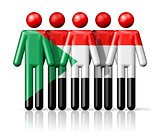 Flag of Sudan on stick figure