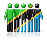 Flag of Tanzania on stick figure