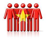 Flag of Vietnam on stick figure