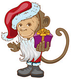 Monkey symbol 2016 in Santa hats holding gift box.