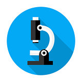 Microscope flat circle icon