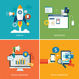 set of digital marketing,startup, web design and social marketin