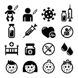 Childhood vaccinations, chicken pox icon set