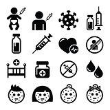 Childhood vaccinations, chicken pox icon set