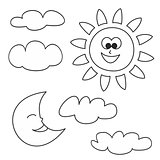 Sun, moon and clouds icons vector illustrations isolated on white background