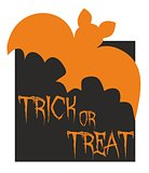 Trick or treat vector card with bat