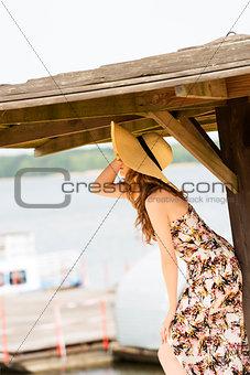 tourist girl near lake