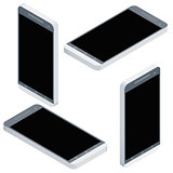 Mobile phone isometrics from four sides icon set