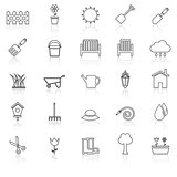 Gardening line icons with reflcet on white