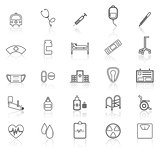 Hospital line icons with refelct on white