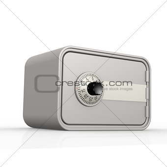 Gray safe box with white background