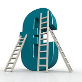 Blue euro sign with ladder