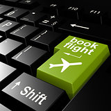 Book flight on green keyboard