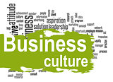 Business culture word cloud with green banner