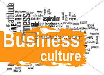 Business culture word cloud with yellow banner