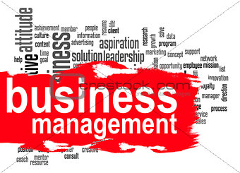 Business management word cloud with red banner