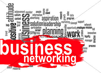 Business networking word cloud with red banner