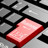 Business word on the red enter keyboard