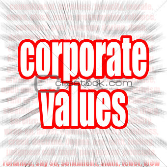 Corporate values word cloud