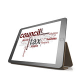 Counci tax word cloud on tablet