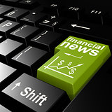 Financial news word on the green enter keyboard