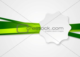 Green vector stripes and white label sticker