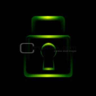 Green glowing lock symbol icon
