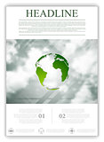 Eco globe on sky background. Flyer design