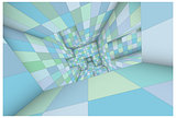 3d futuristic labyrinth green blue shaded vector interior illust